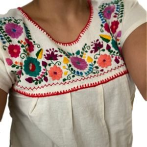 Women's L/XL Mexican Embroidered Boho Tunic